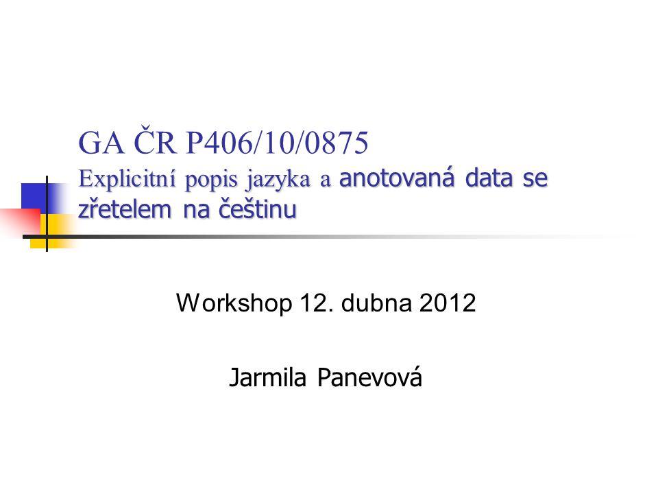 Explicitní popis jazyka a anotovaná data se zřetelem na češtinu GA ČR P406/10/0875 Explicitní popis jazyka a anotovaná data se zřetelem na češtinu Wor