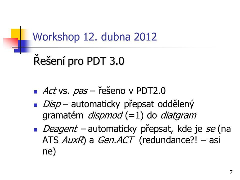 7 Workshop 12. dubna 2012 Řešení pro PDT 3.0 Act vs. pas – řešeno v PDT2.0 Disp – automaticky přepsat oddělený gramatém dispmod (=1) do diatgram Deage