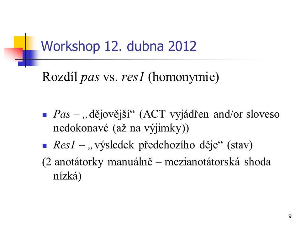 """9 Workshop 12. dubna 2012 Rozdíl pas vs. res1 (homonymie) Pas – """"dějovější"""" (ACT vyjádřen and/or sloveso nedokonavé (až na výjimky)) Res1 – """"výsledek"""