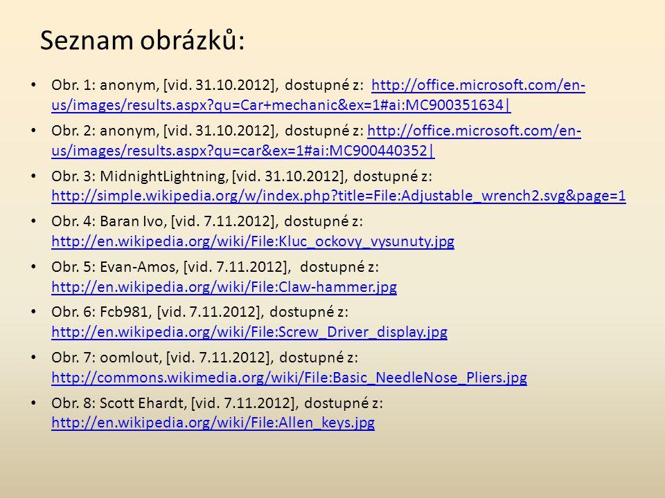 Seznam obrázků: Obr. 1: anonym, [vid.