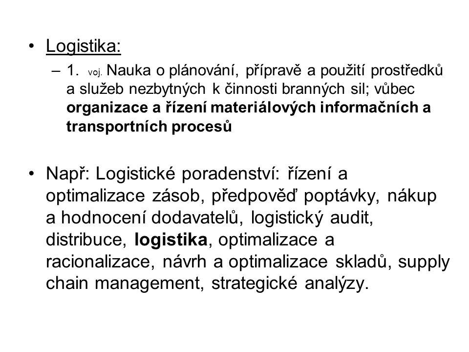 Logistika: –1. voj. Nauka o plánování, přípravě a použití prostředků a služeb nezbytných k činnosti branných sil; vůbec organizace a řízení materiálov