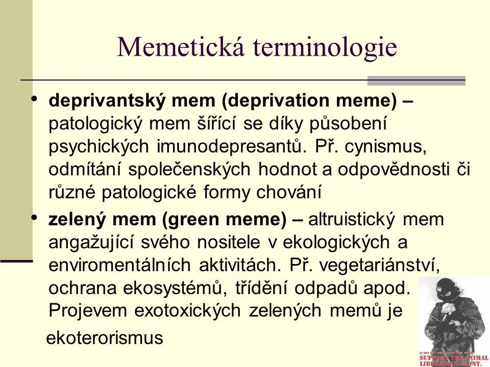 Memetická terminologie deprivantský mem (deprivation meme) – patologický mem šířící se díky působení psychických imunodepresantů. Př. cynismus, odmítá