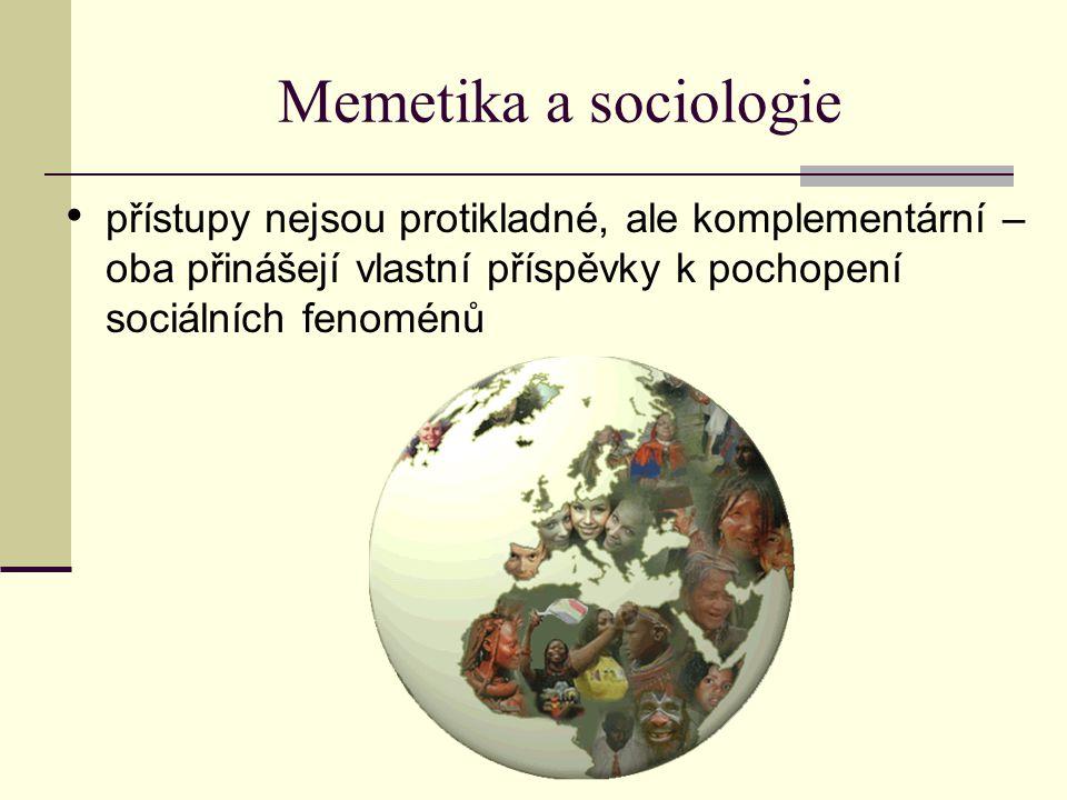 Memetika a sociologie přístupy nejsou protikladné, ale komplementární – oba přinášejí vlastní příspěvky k pochopení sociálních fenoménů