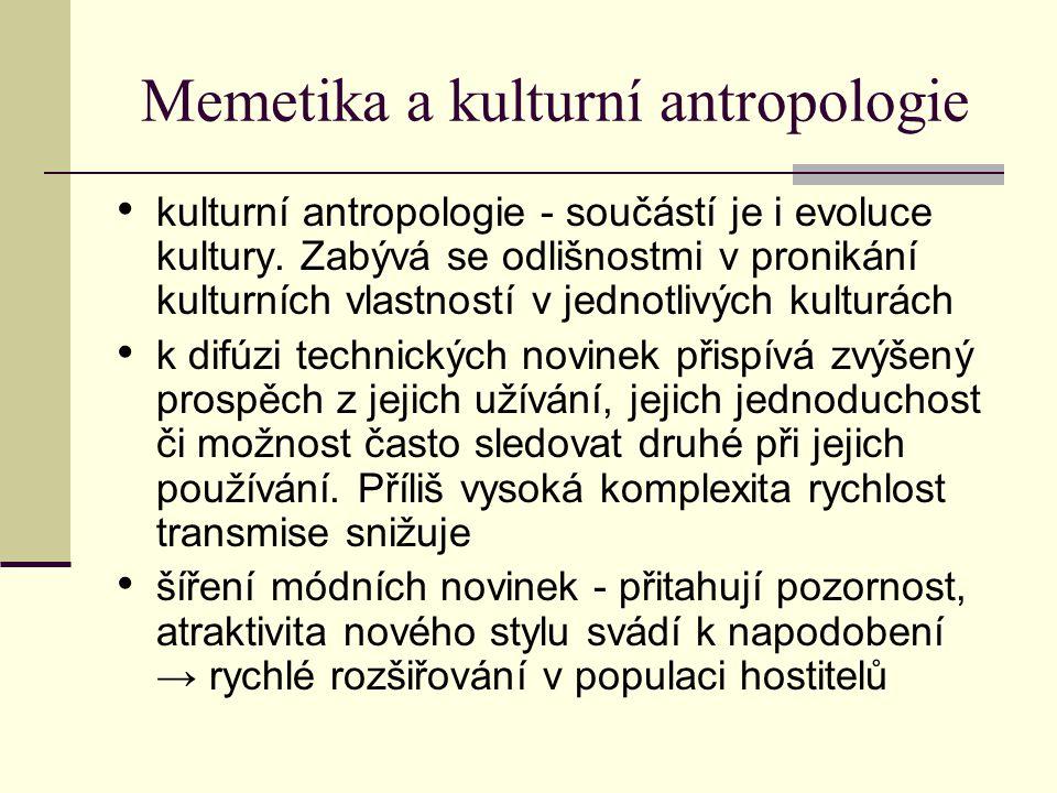 Memetika a kulturní antropologie kulturní antropologie - součástí je i evoluce kultury. Zabývá se odlišnostmi v pronikání kulturních vlastností v jedn