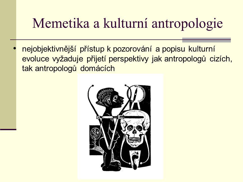 Memetika a kulturní antropologie nejobjektivnější přístup k pozorování a popisu kulturní evoluce vyžaduje přijetí perspektivy jak antropologů cizích,