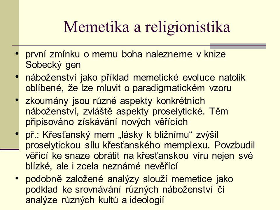 Memetika a religionistika první zmínku o memu boha nalezneme v knize Sobecký gen náboženství jako příklad memetické evoluce natolik oblíbené, že lze m
