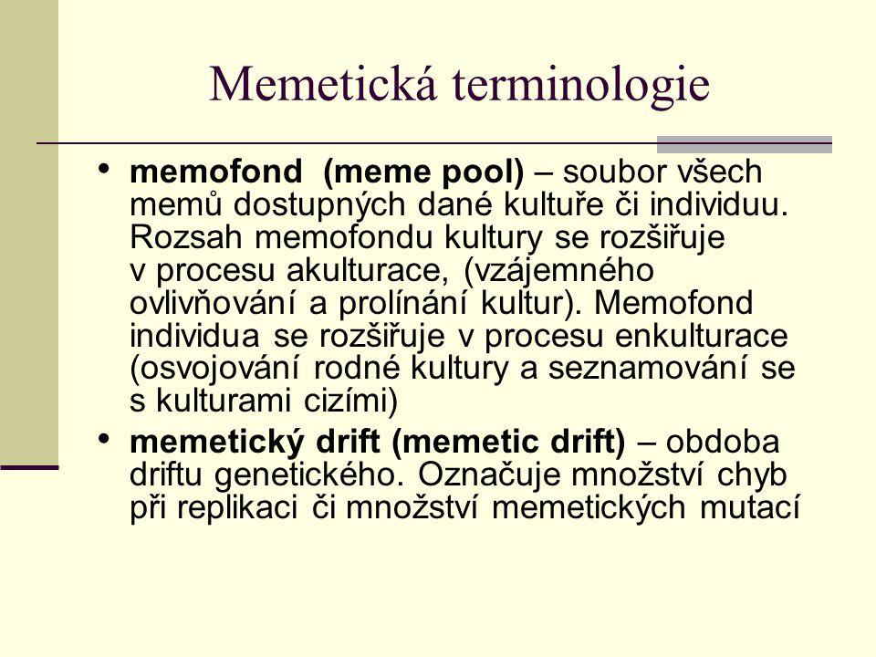 Memetická terminologie memofond (meme pool) – soubor všech memů dostupných dané kultuře či individuu. Rozsah memofondu kultury se rozšiřuje v procesu