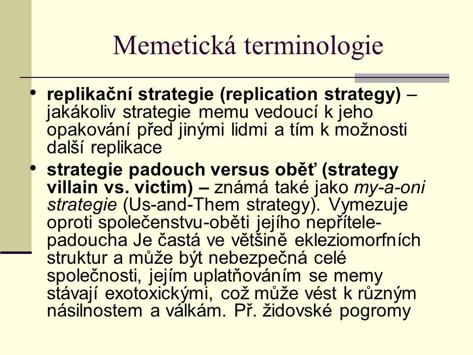 Memetická terminologie replikační strategie (replication strategy) – jakákoliv strategie memu vedoucí k jeho opakování před jinými lidmi a tím k možno