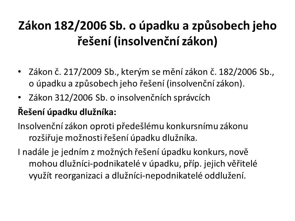 Zákon 182/2006 Sb. o úpadku a způsobech jeho řešení (insolvenční zákon) Zákon č.