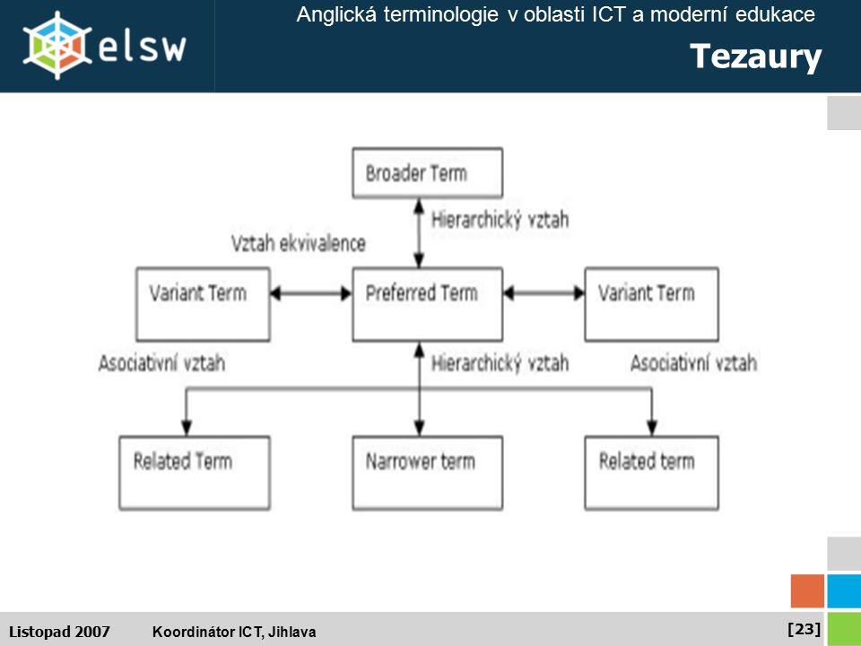 Anglická terminologie v oblasti ICT a moderní edukace Koordinátor ICT, Jihlava [23] Listopad 2007 Tezaury