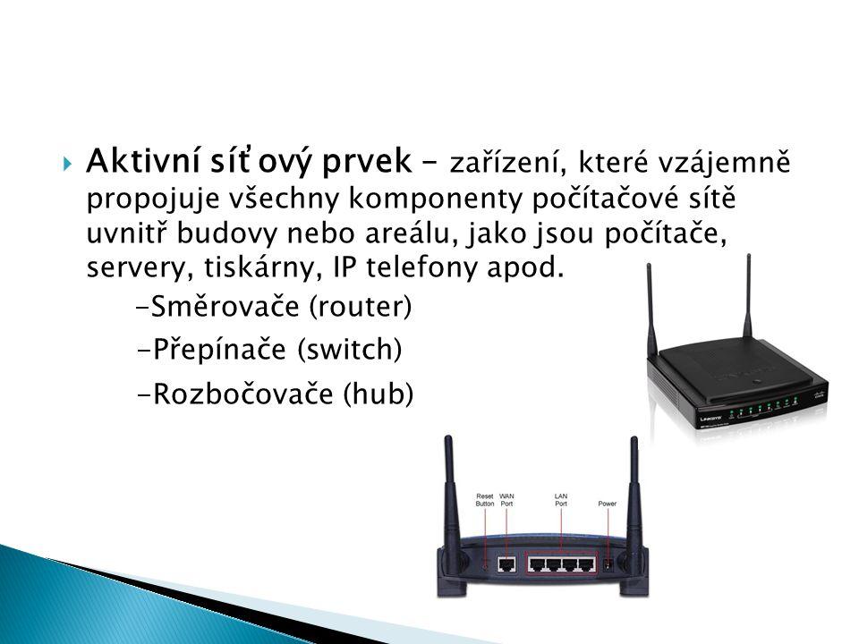  Aktivní síťový prvek – zařízení, které vzájemně propojuje všechny komponenty počítačové sítě uvnitř budovy nebo areálu, jako jsou počítače, servery, tiskárny, IP telefony apod.