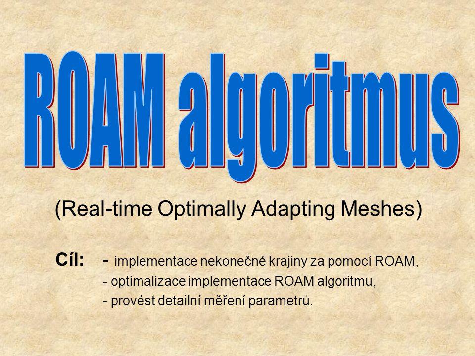 (Real-time Optimally Adapting Meshes) Cíl: - implementace nekonečné krajiny za pomocí ROAM, - optimalizace implementace ROAM algoritmu, - provést detailní měření parametrů.