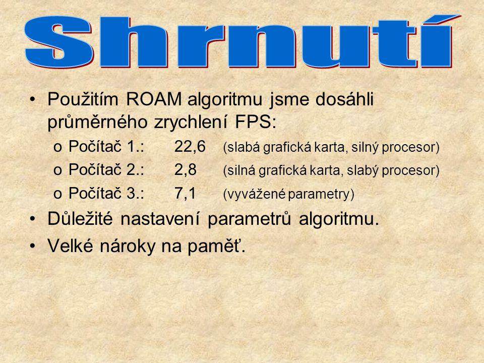 Použitím ROAM algoritmu jsme dosáhli průměrného zrychlení FPS: oPočítač 1.:22,6 (slabá grafická karta, silný procesor) oPočítač 2.:2,8 (silná grafická karta, slabý procesor) oPočítač 3.:7,1 (vyvážené parametry) Důležité nastavení parametrů algoritmu.