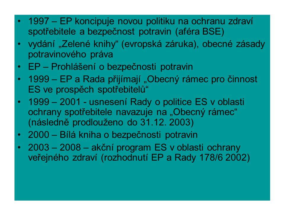 """1997 – EP koncipuje novou politiku na ochranu zdraví spotřebitele a bezpečnost potravin (aféra BSE) vydání """"Zelené knihy (evropská záruka), obecné zásady potravinového práva EP – Prohlášení o bezpečnosti potravin 1999 – EP a Rada přijímají """"Obecný rámec pro činnost ES ve prospěch spotřebitelů 1999 – 2001 - usnesení Rady o politice ES v oblasti ochrany spotřebitele navazuje na """"Obecný rámec (následně prodlouženo do 31.12."""