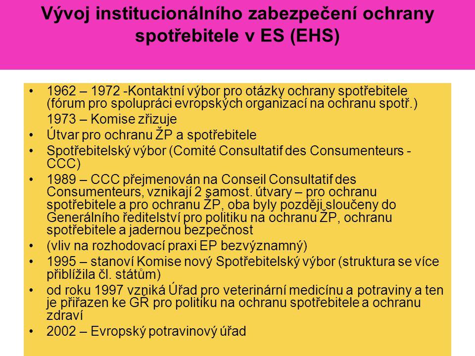 Vývoj institucionálního zabezpečení ochrany spotřebitele v ES (EHS) 1962 – 1972 -Kontaktní výbor pro otázky ochrany spotřebitele (fórum pro spolupráci evropských organizací na ochranu spotř.) 1973 – Komise zřizuje Útvar pro ochranu ŽP a spotřebitele Spotřebitelský výbor (Comité Consultatif des Consumenteurs - CCC) 1989 – CCC přejmenován na Conseil Consultatif des Consumenteurs, vznikají 2 samost.