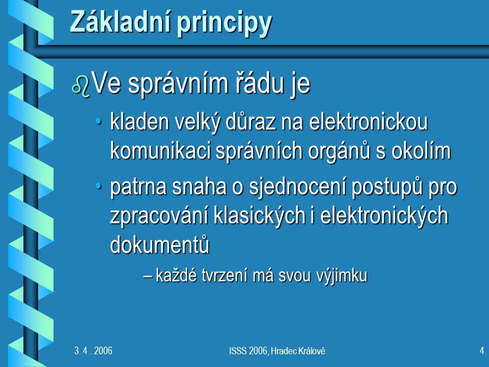 3. 4. 2006ISSS 2006, Hradec Králové4 Základní principy b Ve správním řádu je kladen velký důraz na elektronickou komunikaci správních orgánů s okolímk