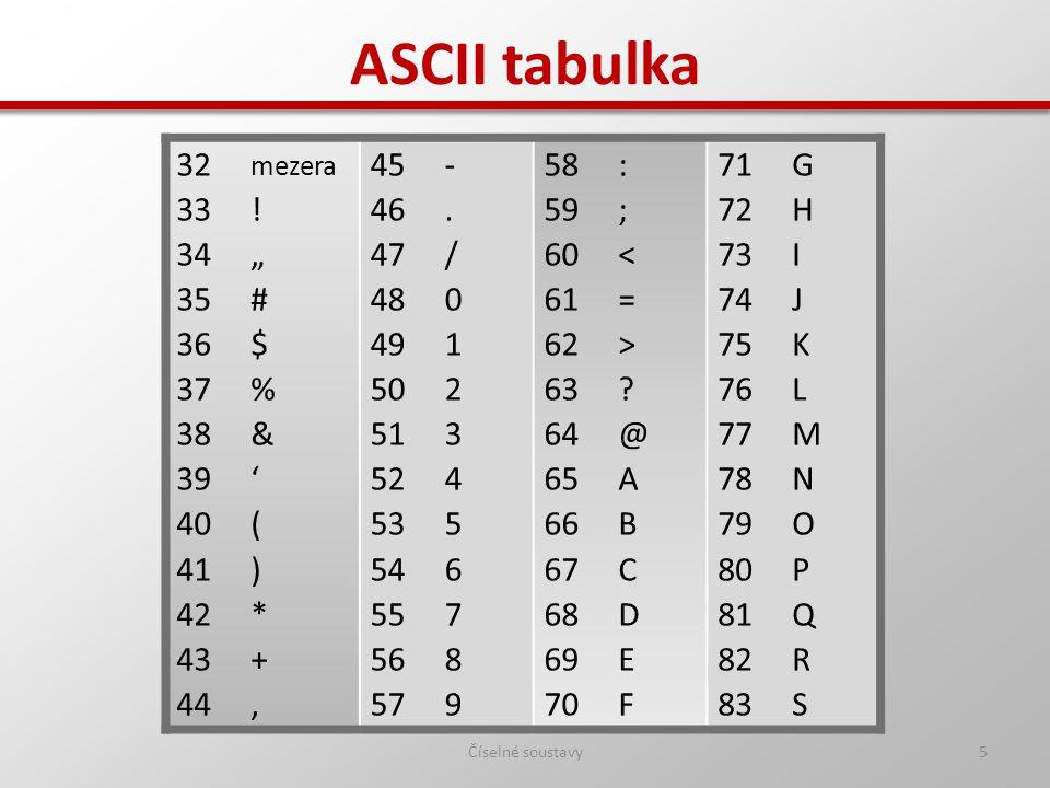 "5 ASCII tabulka 32 mezera 33 ! 34 "" 35 # 36 $ 37 % 38 & 39 ' 40 ( 41 ) 42 * 43 + 44, 45 - 46. 47 / 48 0 49 1 50 2 51 3 52 4 53 5 54 6 55 7 56 8 57 9 5"