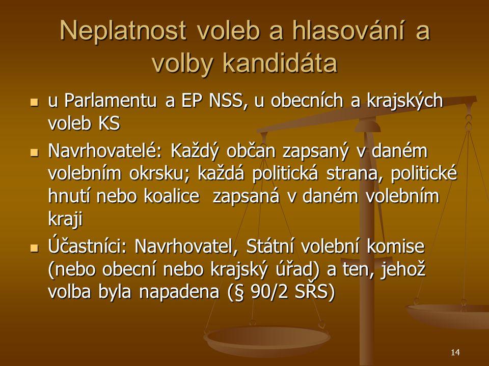 14 Neplatnost voleb a hlasování a volby kandidáta u Parlamentu a EP NSS, u obecních a krajských voleb KS u Parlamentu a EP NSS, u obecních a krajských