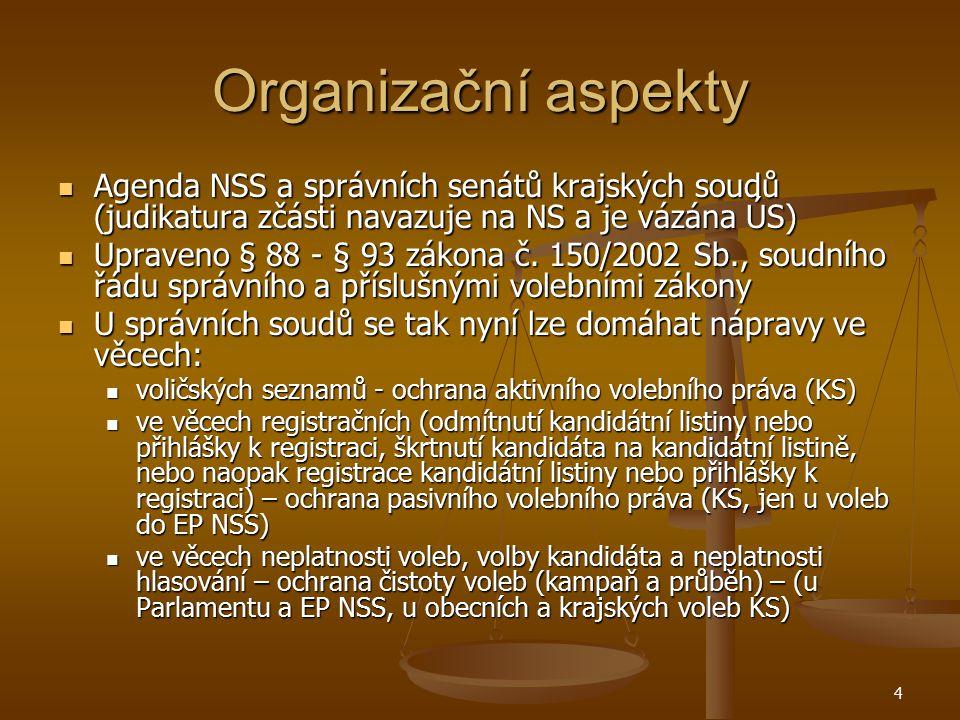 4 Organizační aspekty Agenda NSS a správních senátů krajských soudů (judikatura zčásti navazuje na NS a je vázána ÚS) Agenda NSS a správních senátů kr
