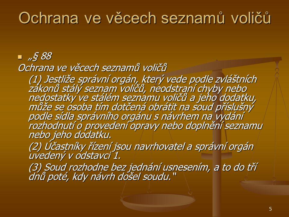 6 Ochrana ve věcech seznamů voličů Případ psychiatrické léčebny, usnesení Nejvyššího správního soudu ze dne 22.