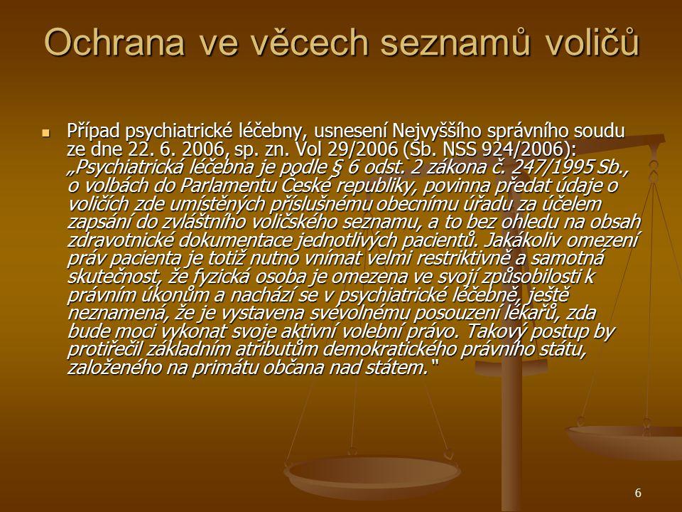 6 Ochrana ve věcech seznamů voličů Případ psychiatrické léčebny, usnesení Nejvyššího správního soudu ze dne 22. 6. 2006, sp. zn. Vol 29/2006 (Sb. NSS
