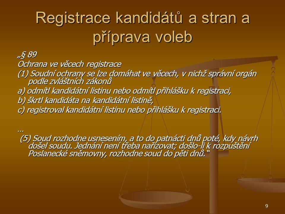10 Registrace kandidátů a stran a příprava voleb Vždy KS, jen u voleb do EP NSS Vždy KS, jen u voleb do EP NSS Navrhovatelé: Navrhovatelé: Odmítnutí kandidátní listiny: kandidující subjekt (§ 89/2 SŘS); Odmítnutí kandidátní listiny: kandidující subjekt (§ 89/2 SŘS); Škrtnutí kandidáta: kandidující subjekt, nebo ten, kdo byl rozhodnutím krajského úřadu z kandidátní listiny vyškrtnut (§ 89/3 SŘS); Škrtnutí kandidáta: kandidující subjekt, nebo ten, kdo byl rozhodnutím krajského úřadu z kandidátní listiny vyškrtnut (§ 89/3 SŘS); Provedení registrace kandidátní listiny: ostatní kandidující subjekty (§ 89/4 SŘS) Provedení registrace kandidátní listiny: ostatní kandidující subjekty (§ 89/4 SŘS)