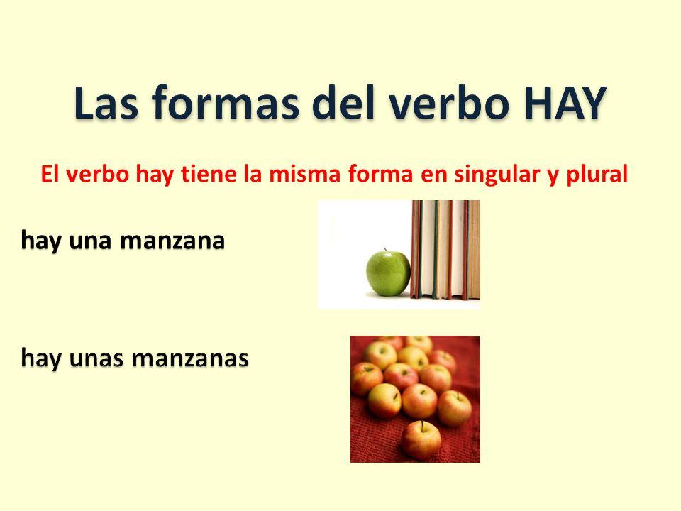 hay una manzana El verbo hay tiene la misma forma en singular y plural