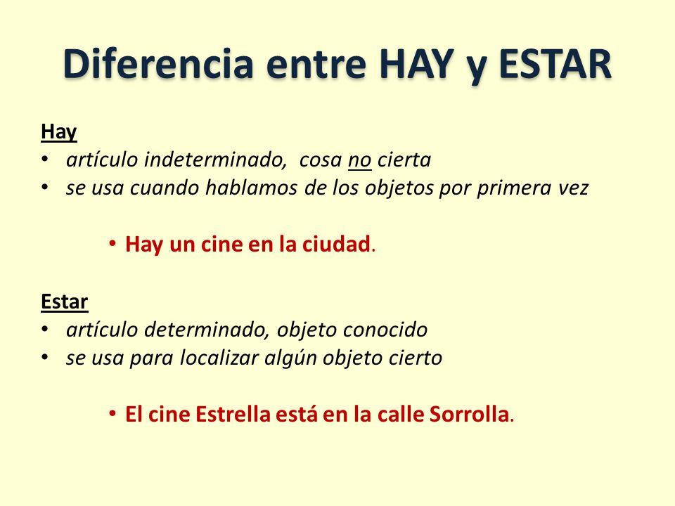 Diferencia entre HAY y ESTAR Hay artículo indeterminado, cosa no cierta se usa cuando hablamos de los objetos por primera vez Hay un cine en la ciudad.