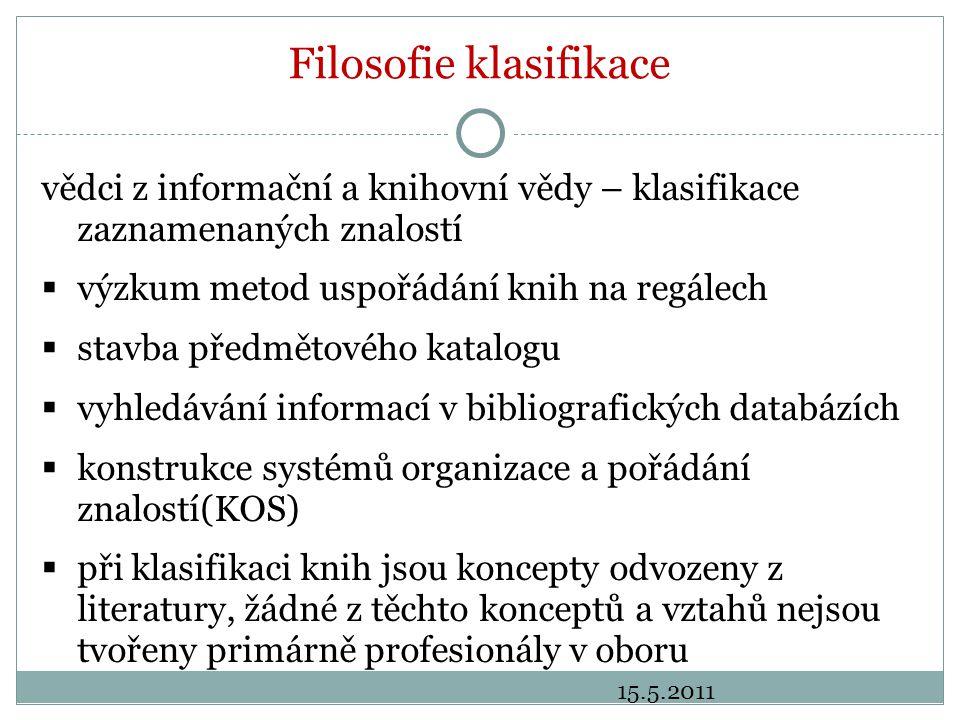 Filosofie klasifikace vědci z informační a knihovní vědy – klasifikace zaznamenaných znalostí  výzkum metod uspořádání knih na regálech  stavba předmětového katalogu  vyhledávání informací v bibliografických databázích  konstrukce systémů organizace a pořádání znalostí(KOS)  při klasifikaci knih jsou koncepty odvozeny z literatury, žádné z těchto konceptů a vztahů nejsou tvořeny primárně profesionály v oboru 15.5.2011