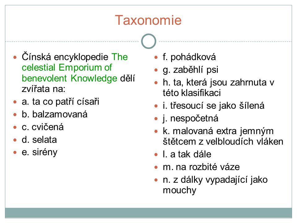 Taxonomie klasifikace čili třídění – jedna z nejdůležitějších složek poznání klasifikace či kategorie jiných skupin – srovnáním sociální kontext závislost kategorií na čase – posun ve významech slov, zcela jiný kontext Kategorie – z řečtiny: sloveso - predikovat, význam - soudní žaloba, přisouzení činu co děláme, když kategorizujeme?