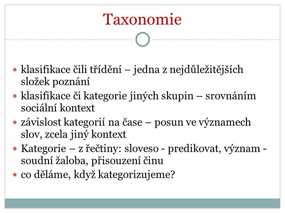 Taxonomie poznání = taxonomie taxonomií Poznání: - vědců x umělců - veřejné x soukromé (elitní skupina, okultní filosofie) mystérium + métier (profese) - svobodné x užitečné (klasiků) (řemeslné: 7 hrubých [mechanical] umění: tkaní, loďařství, lodivodství, rolnictví, lov, léčení, herectví
