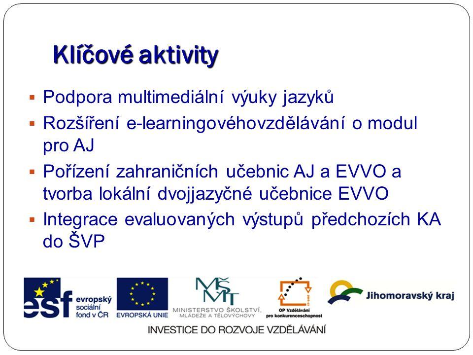 Klíčové aktivity  Podpora multimediální výuky jazyků  Rozšíření e-learningovéhovzdělávání o modul pro AJ  Pořízení zahraničních učebnic AJ a EVVO a