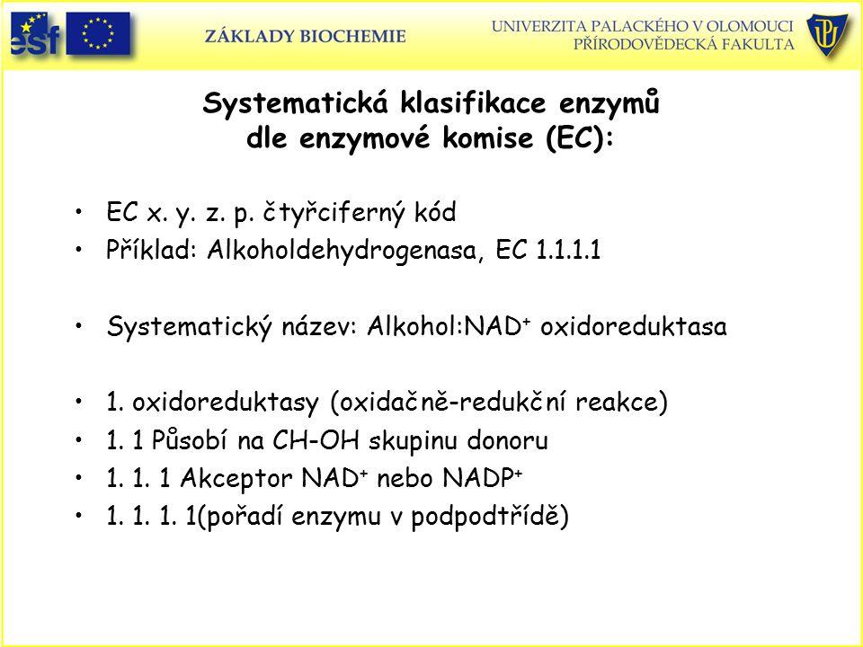 EC x. y. z. p. čtyřciferný kód Příklad: Alkoholdehydrogenasa, EC 1.1.1.1 Systematický název: Alkohol:NAD + oxidoreduktasa 1. oxidoreduktasy (oxidačně-