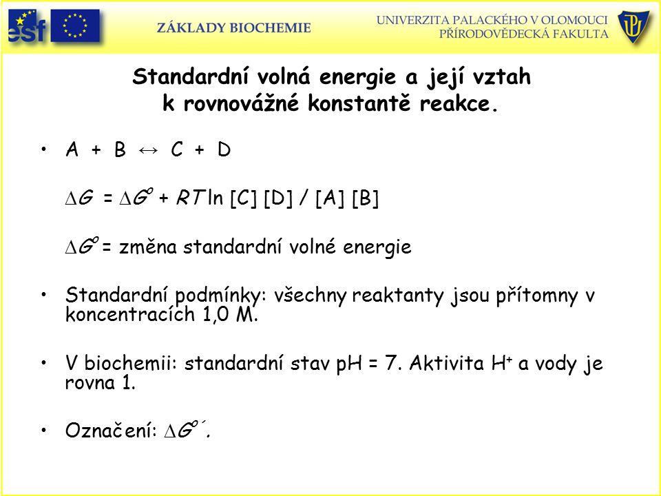 Standardní volná energie a její vztah k rovnovážné konstantě reakce. A + B ↔ C + D  G =  G o + RT ln [C] [D] / [A] [B]  G o = změna standardní voln