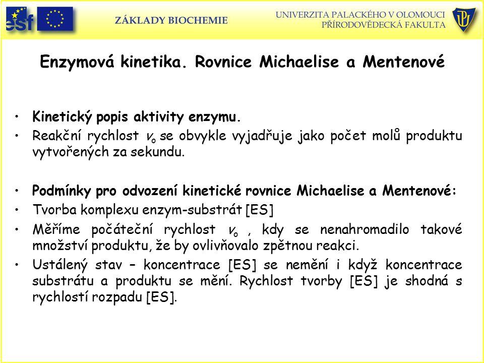 Enzymová kinetika. Rovnice Michaelise a Mentenové Kinetický popis aktivity enzymu. Reakční rychlost v o se obvykle vyjadřuje jako počet molů produktu
