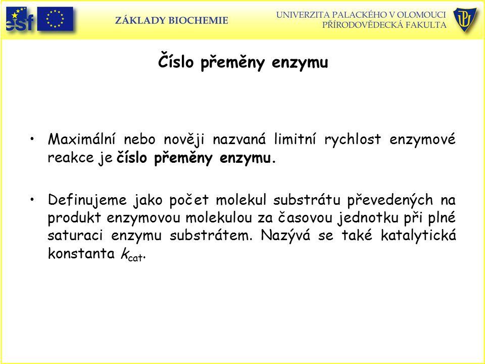 Číslo přeměny enzymu Maximální nebo nověji nazvaná limitní rychlost enzymové reakce je číslo přeměny enzymu. Definujeme jako počet molekul substrátu p