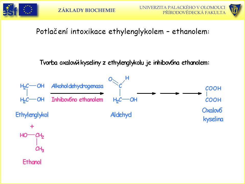 Potlačení intoxikace ethylenglykolem – ethanolem :