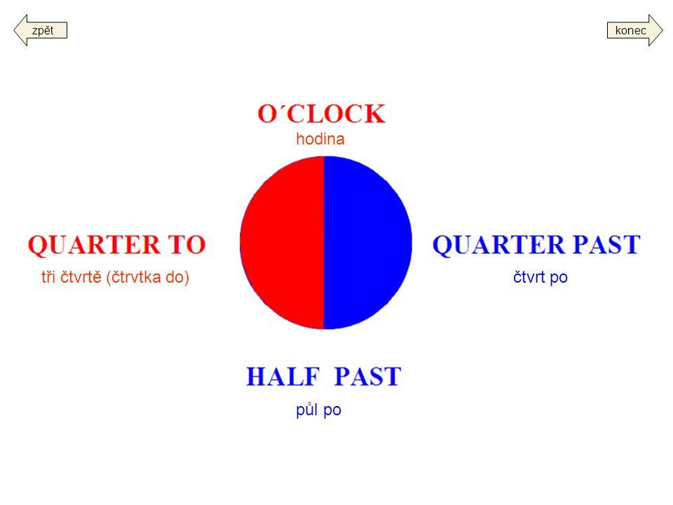 koneczpět čtvrt po půl po tři čtvrtě (čtrvtka do) hodina