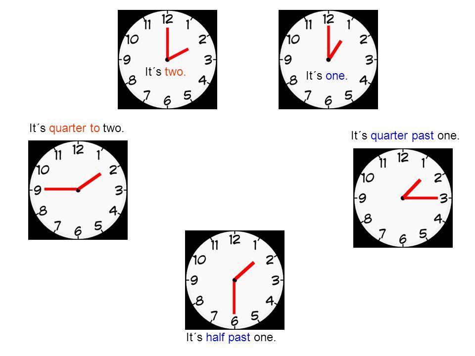 It´s quarter past one. It´s half past one. It´s two. It´s one. It´s quarter to two.