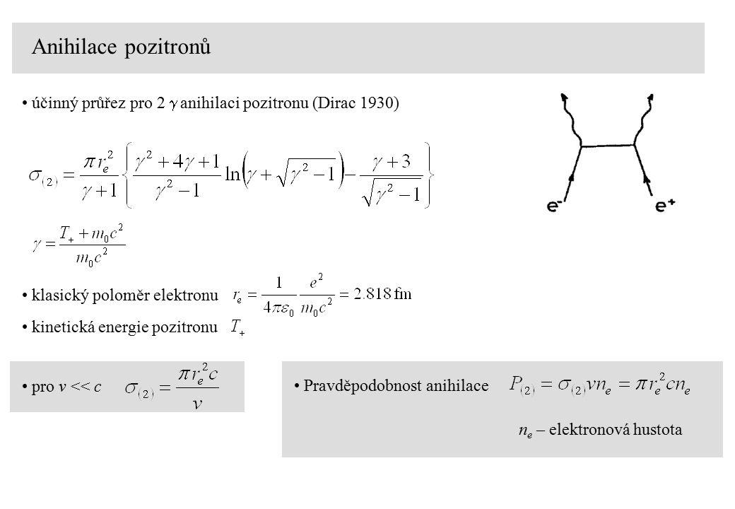 Anihilace pozitronů účinný průřez pro 2  anihilaci pozitronu (Dirac 1930) pro v << c Pravděpodobnost anihilace n e – elektronová hustota klasický poloměr elektronu kinetická energie pozitronu