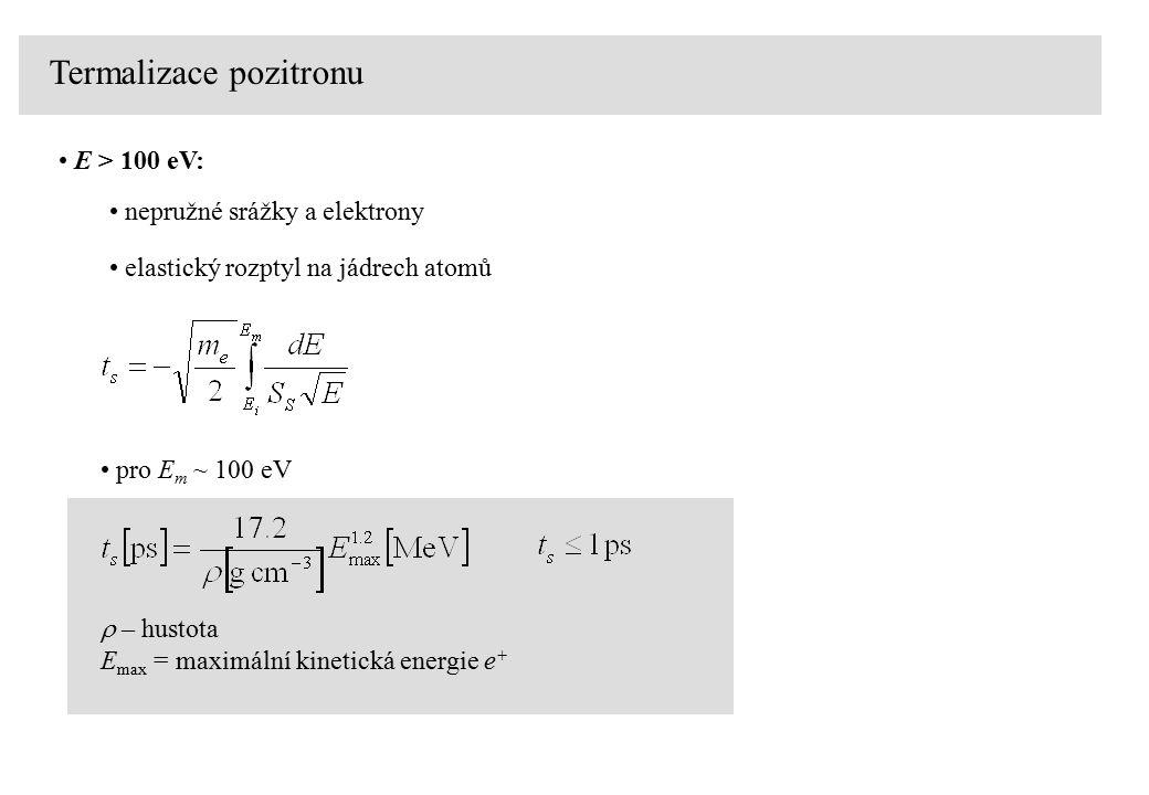  – hustota E max = maximální kinetická energie e + pro E m ~ 100 eV Termalizace pozitronu E > 100 eV: nepružné srážky a elektrony elastický rozptyl na jádrech atomů