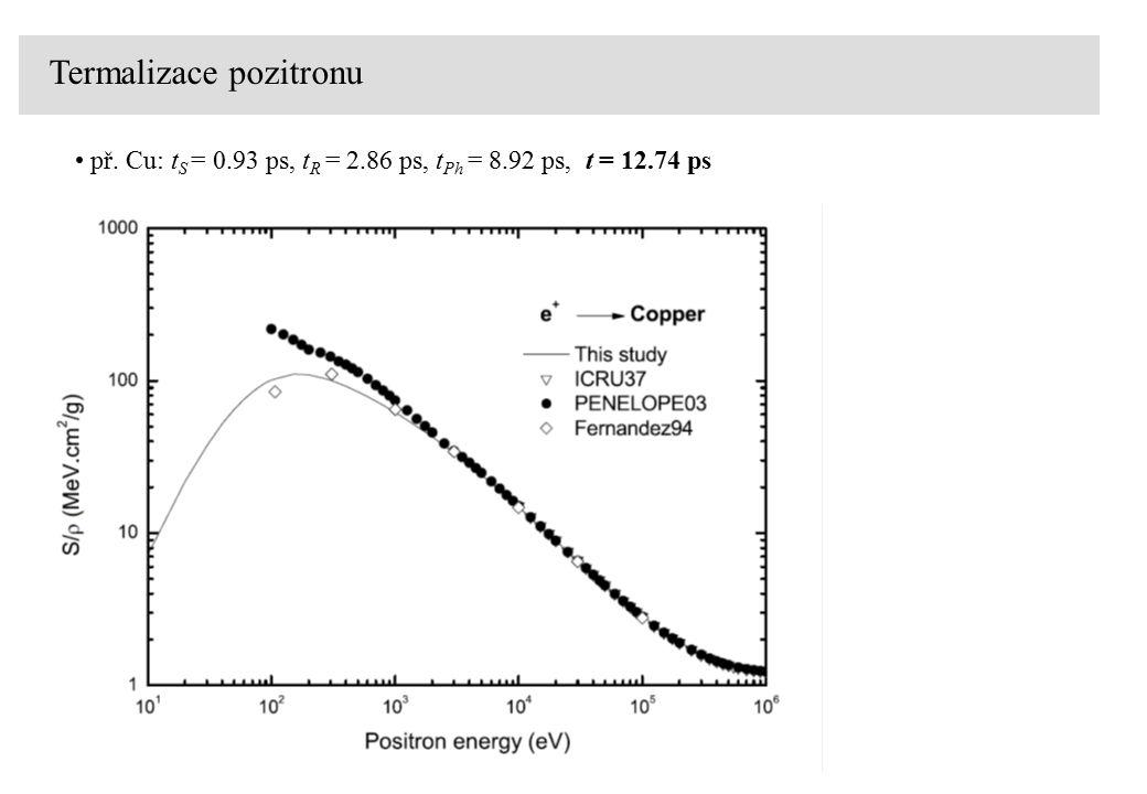 Termalizace pozitronu př. Cu: t S = 0.93 ps, t R = 2.86 ps, t Ph = 8.92 ps, t = 12.74 ps