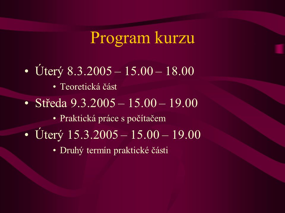 Počítačová síť Propojení dvou a více počítačů Internet je podskupina počítačové sítě Síťové prvky Síťová karta, modem Kabeláž Rozbočovače Vybavení pro bezdrátové připojení Parametry sítě: rychlost, odezva