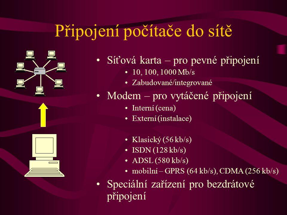 Klasický email x webové rozhraní Zřizuje správce serveru Omezení při odesílání pošty Bez reklam Nutná konfigurace klienta na každém počítači Na MU ochrana před viry Emaily leží na univerzitním serveru Možnost off-line čtení Větší integrace se systémem počítače Zřizuje uživatel Bez omezení Vložené reklamy Bez konfigurace klienta Nebezpečí zavlečení virů Emaily leží mimo MU Vyžaduje připojení na síť