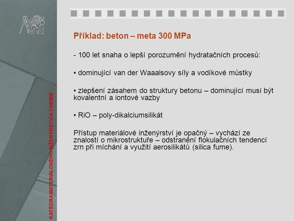 Příklad: beton – meta 300 MPa - 100 let snaha o lepší porozumění hydratačních procesů: dominující van der Waaalsovy síly a vodíkové můstky zlepšení zá