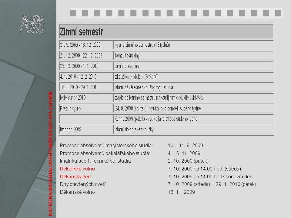 Promoce absolventů magisterského studia: 10. - 11. 9. 2009 Promoce absolventů bakalářského studia: 4. - 6. 11. 2009 Imatrikulace 1. ročníků bc. studia