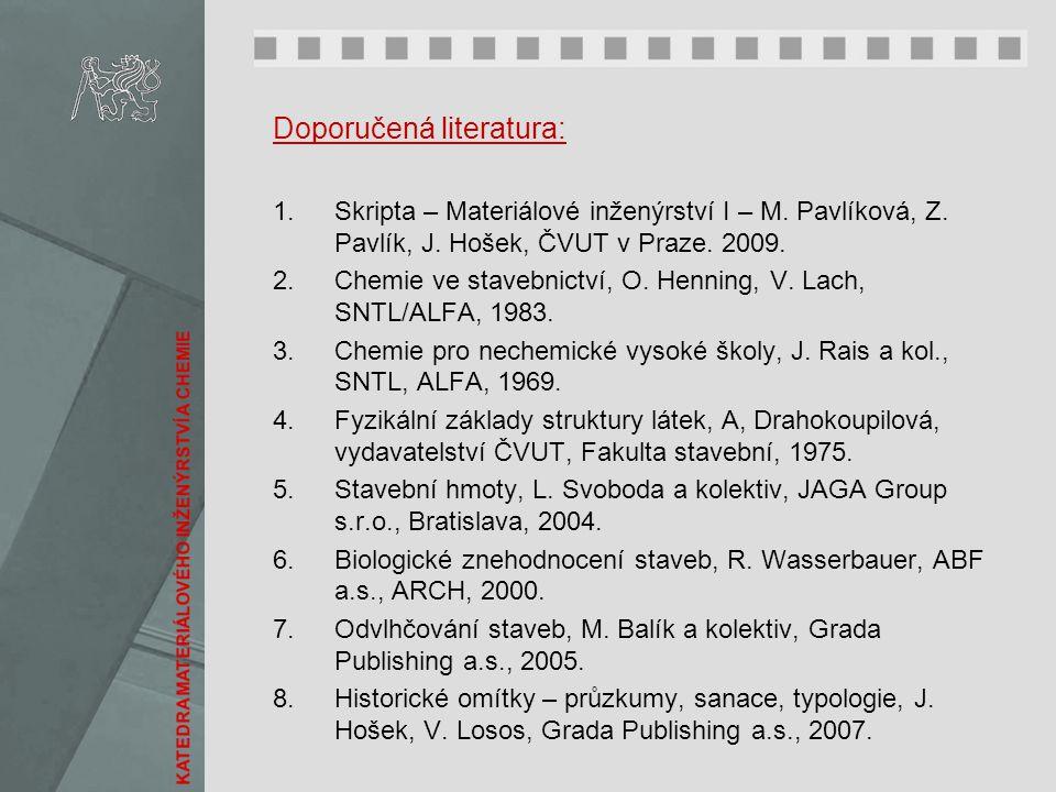 Doporučená literatura: 1.Skripta – Materiálové inženýrství I – M. Pavlíková, Z. Pavlík, J. Hošek, ČVUT v Praze. 2009. 2.Chemie ve stavebnictví, O. Hen
