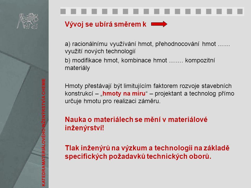 Vývoj se ubírá směrem k a) racionálnímu využívání hmot, přehodnocování hmot …… využití nových technologií b) modifikace hmot, kombinace hmot ……. kompo