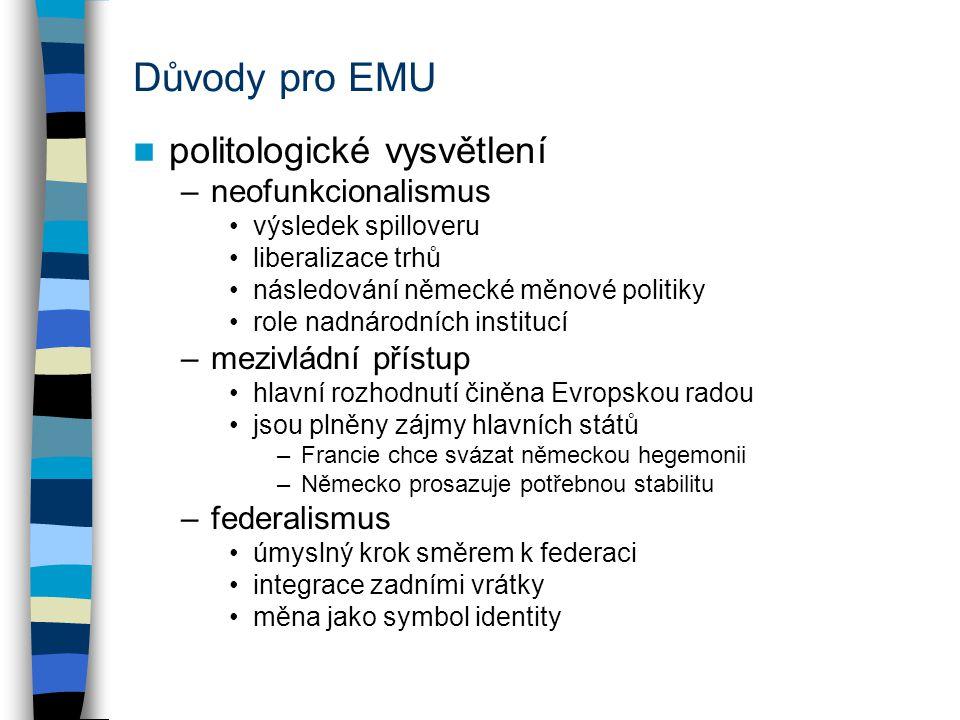 Důvody pro EMU politologické vysvětlení –neofunkcionalismus výsledek spilloveru liberalizace trhů následování německé měnové politiky role nadnárodníc