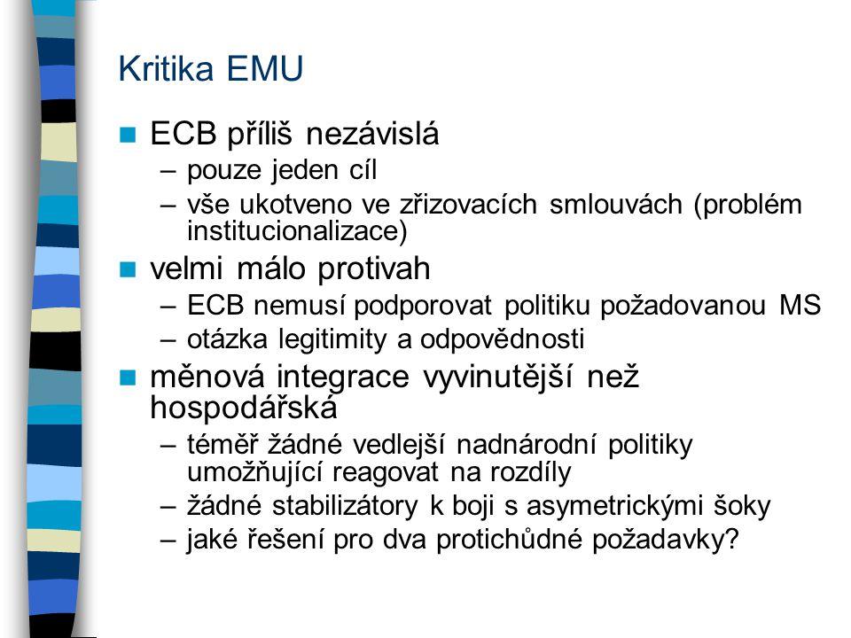 Kritika EMU ECB příliš nezávislá –pouze jeden cíl –vše ukotveno ve zřizovacích smlouvách (problém institucionalizace) velmi málo protivah –ECB nemusí